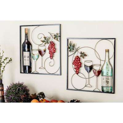 20 in. x 20 in. Metal Wine Bottle and Glass Wall Decors (2-Piece)