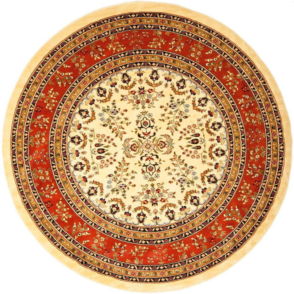 Safavieh Lyndhurst Ivory/Rust 8 ft. x 8 ft. Round Area Rug
