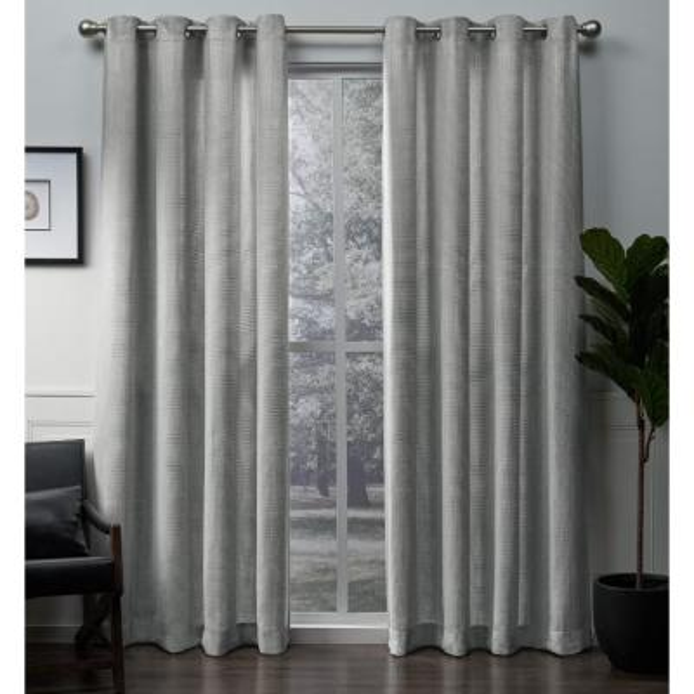 Winfield 54 in. W x 84 in. L Metallic Sheen Grommet Top Curtain Panel in Silver (2 Panels)