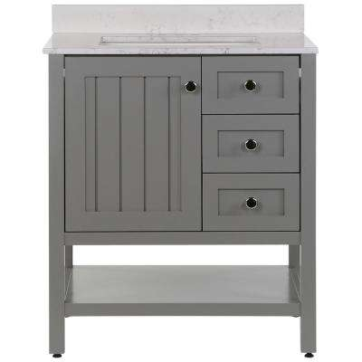 Lanceton 31 in. W x 22 in. D Bath Vanity in Sterling Gray with Stone Effects Vanity Top in Pulsar with White Sink