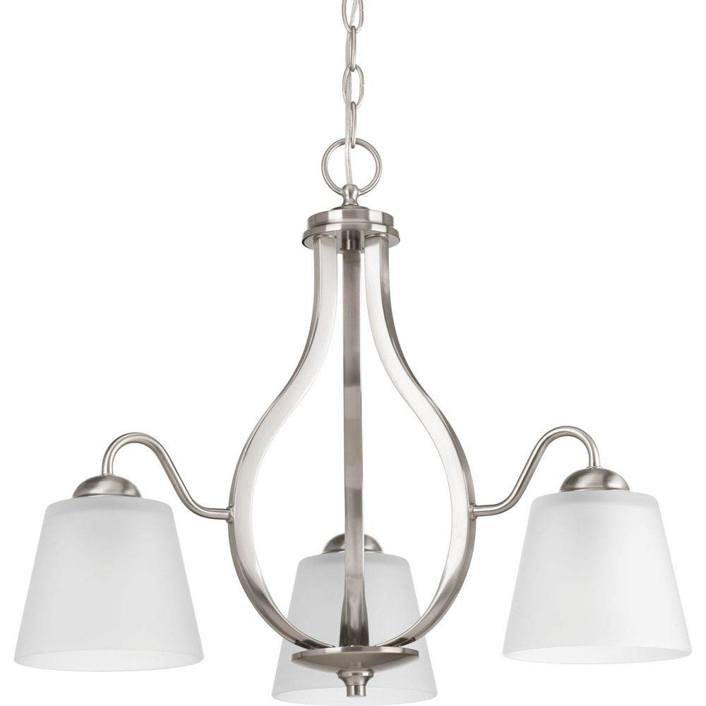 Arden Collection 3-Light Brushed Nickel Chandelier with Shade with Etched Glass