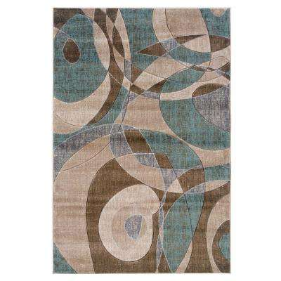 Milan Collection Brown And Turquoise 8 Ft. X 10 Ft. Indoor Area Rug