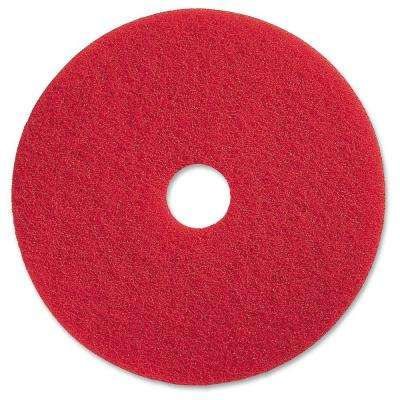 17 in. Red Buffing Floor Pad (5 per Carton)