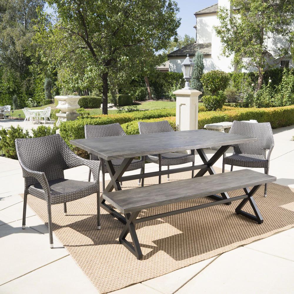 Isola Grey 6-Piece Wicker Outdoor Dining Set