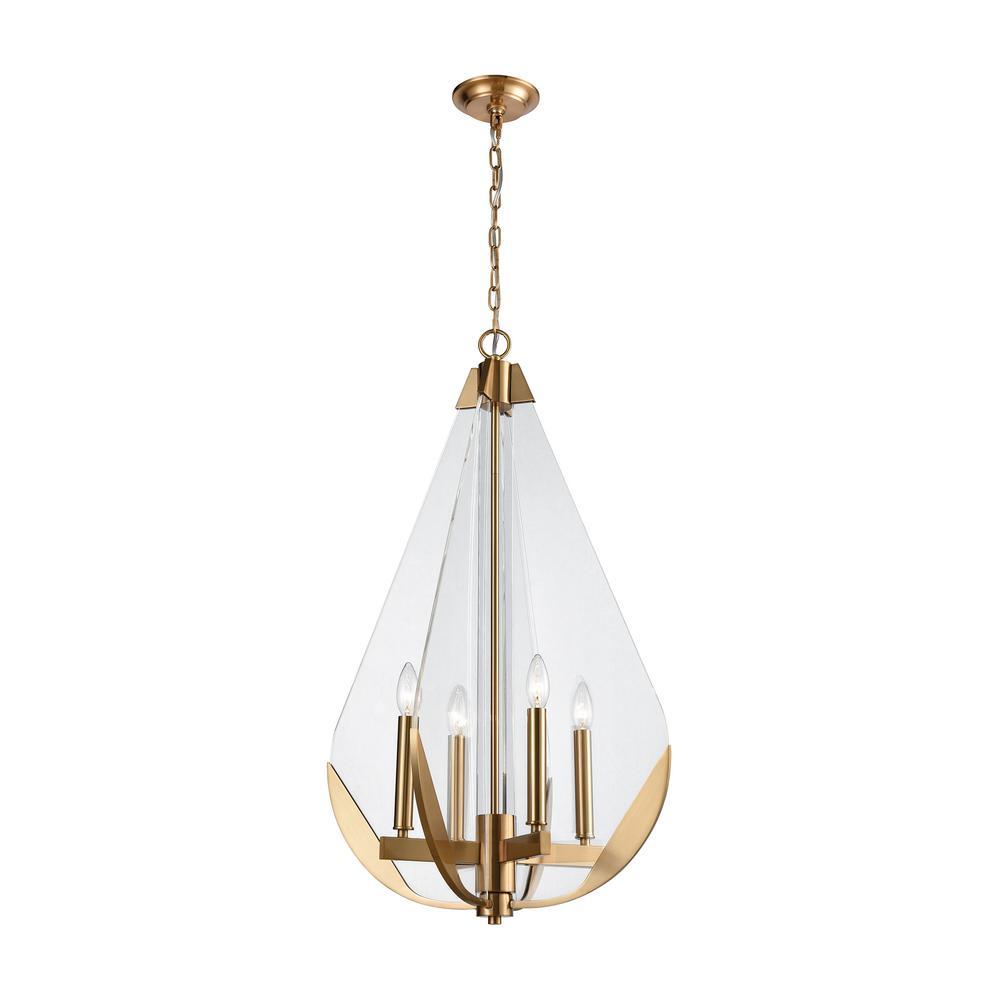 online retailer 6326a b8f45 Titan Lighting Vapor Cone 4-Light Aged Brass Chandelier