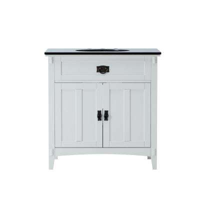 Artisan 33 in. W Vanity in White with Marble Vanity Top in Natural Black with White Basin
