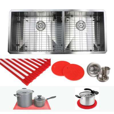 Undermount 42 in. x 20 in. x 10 in. Deep Stainless Steel 16-Gauge Double Bowl 60/40 Zero Radius Kitchen Sink Combo