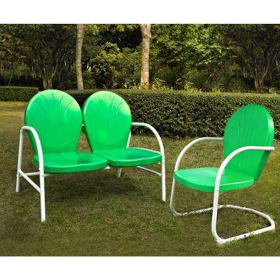Griffith 2-Piece Metal Outdoor Conversation Seating Set - Loveseat and Chair in Grasshopper Green