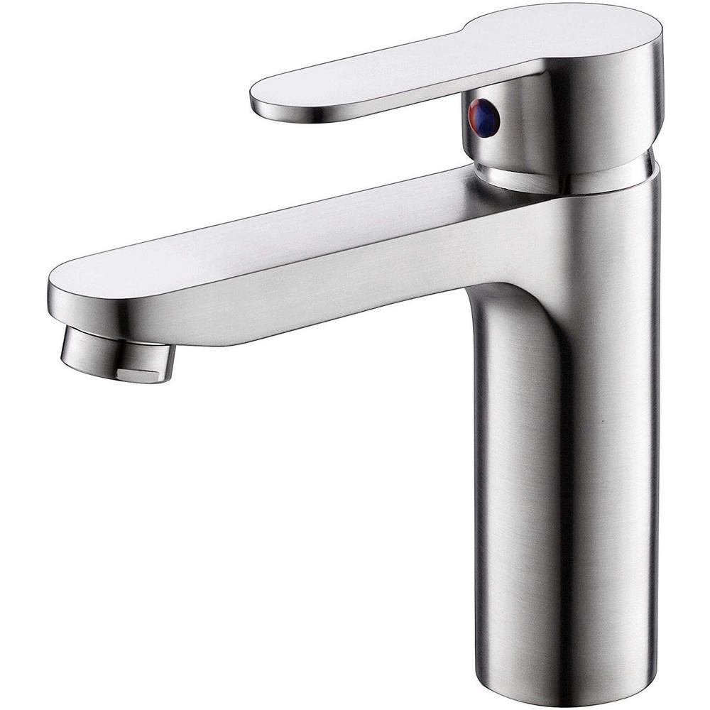 Vanity Art 6.3 in. Single Hole Single-Handle Lever Vessel Bathroom Faucet in Brushed Nickel was $108.0 now $75.6 (30.0% off)