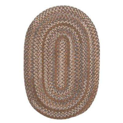 Newport Harbor Walnut 3 ft. 6 in. x 5 ft. 6 in. Braided Oval Area Rug