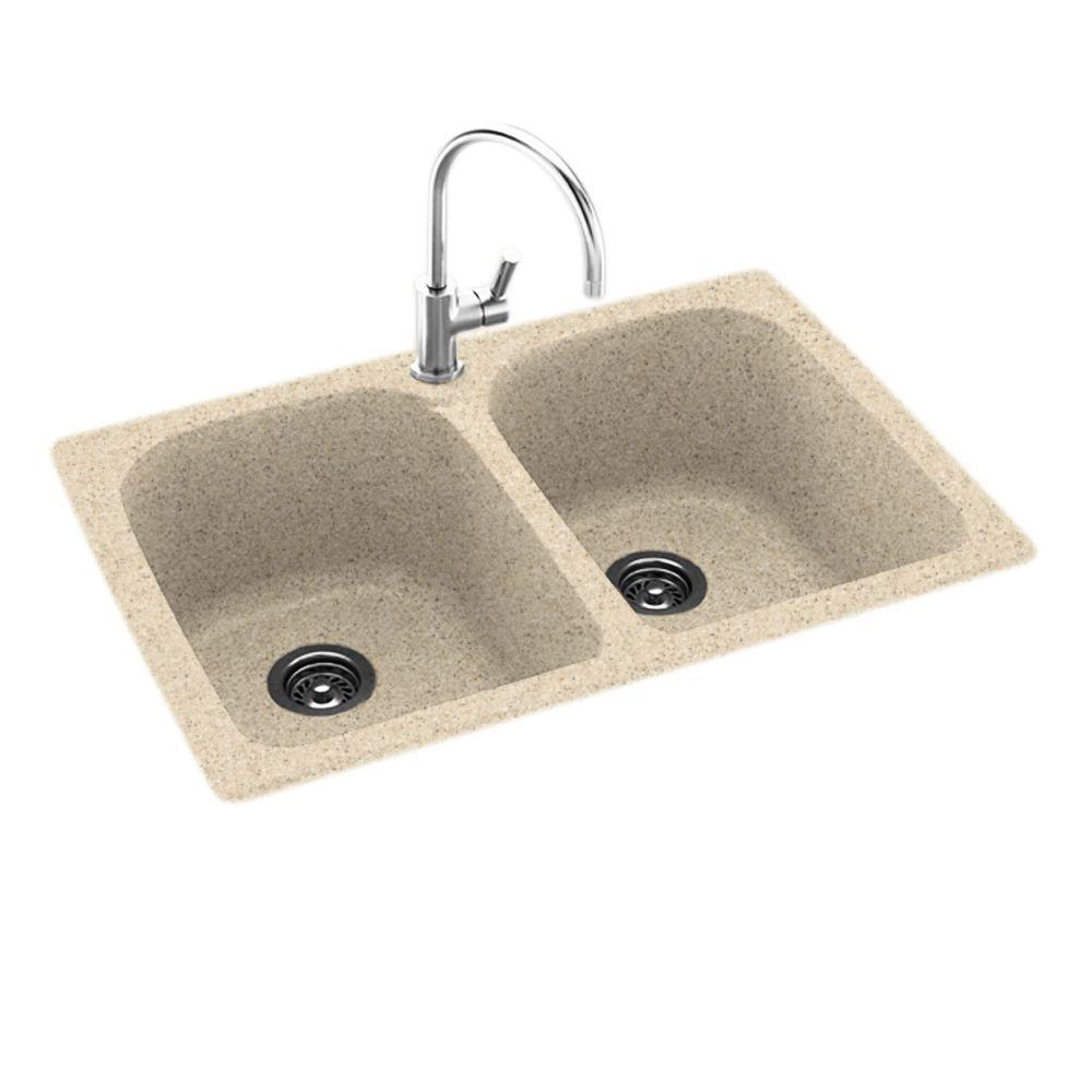 Drop-In/Undermount Solid Surface 33 in. 1-Hole 50/50 Double Bowl ...