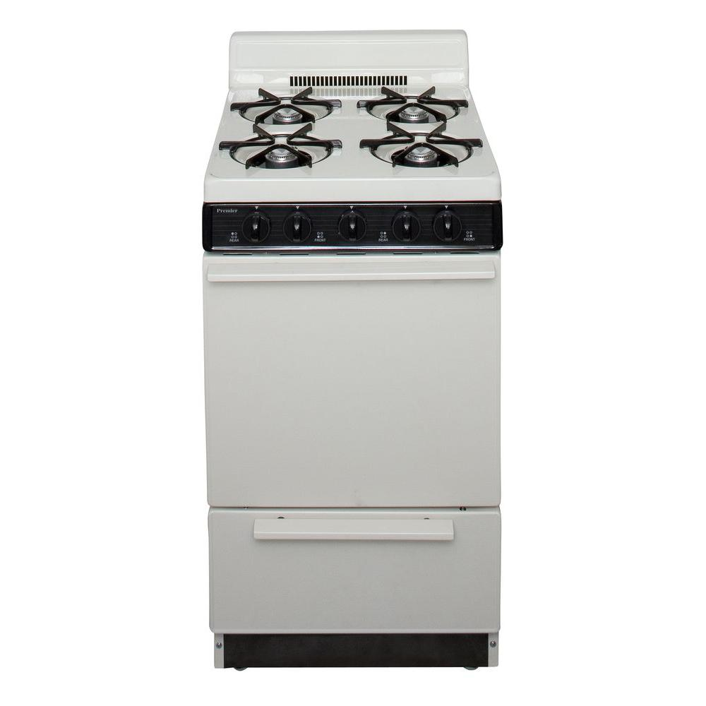 Premier 20 in. 2.42 cu. ft. Gas Range in Biscuit, Beige/B...