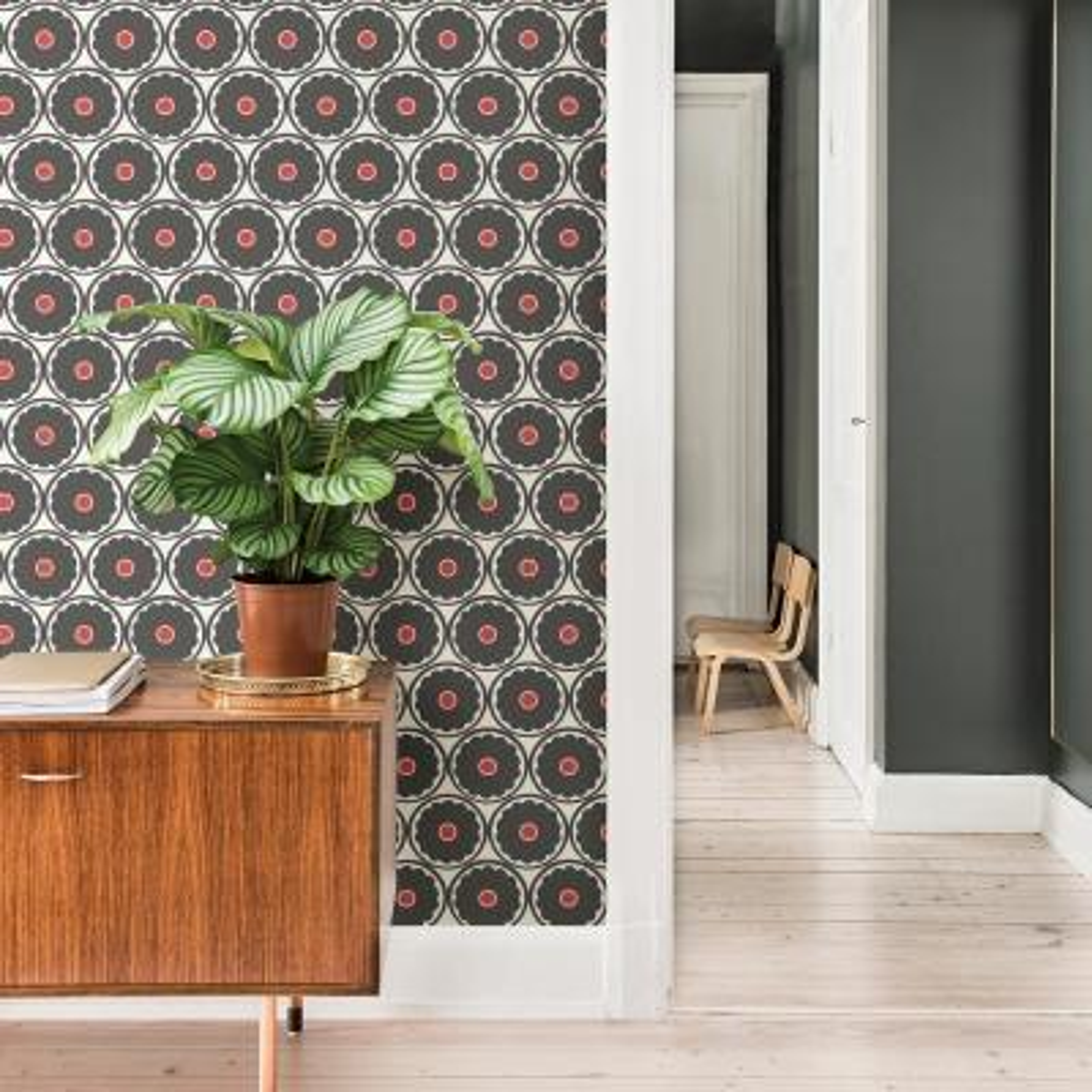 56.4 sq. ft. Buttercup Black Flower Wallpaper