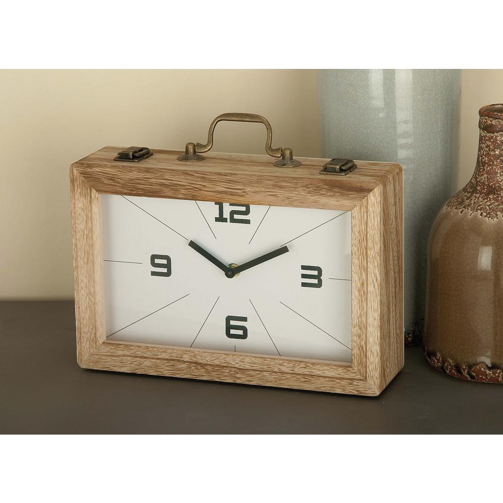 Vintage Brown And White Rectangular Wooden Clock