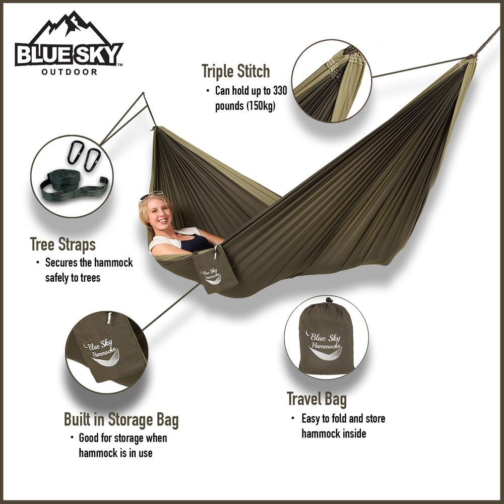 Blue Sky Hammocks 6 5 ft  Nylon Couple's Double Hammock with Free Tree  Straps