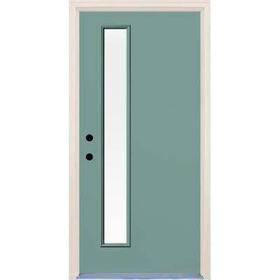 36 in. x 80 in. Surf 1 Lite Clear Glass Painted Fiberglass Prehung Front Door with Brickmould