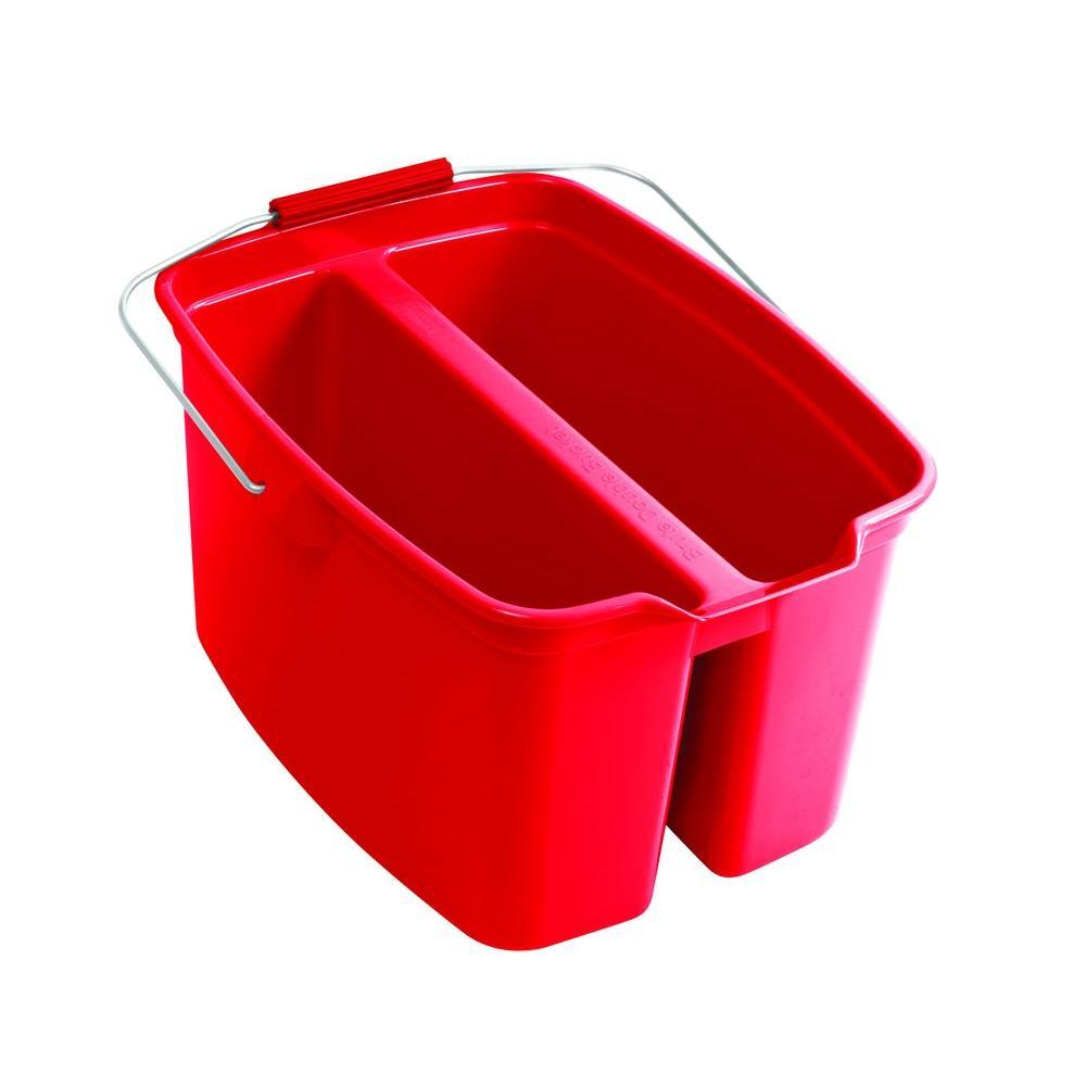 19 Qt. Red Plastic Double Bucket