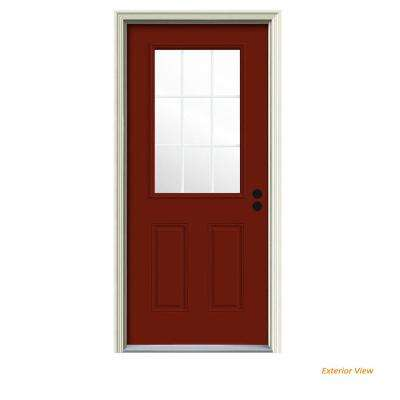 36 in. x 80 in. 9 Lite Mesa Red Painted Steel Prehung Left-Hand Inswing Front Door w/Brickmould
