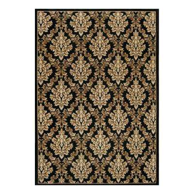 Kurdamir Damask Black 7 ft. 10 in. x 10 ft. 10 in. Area Rug
