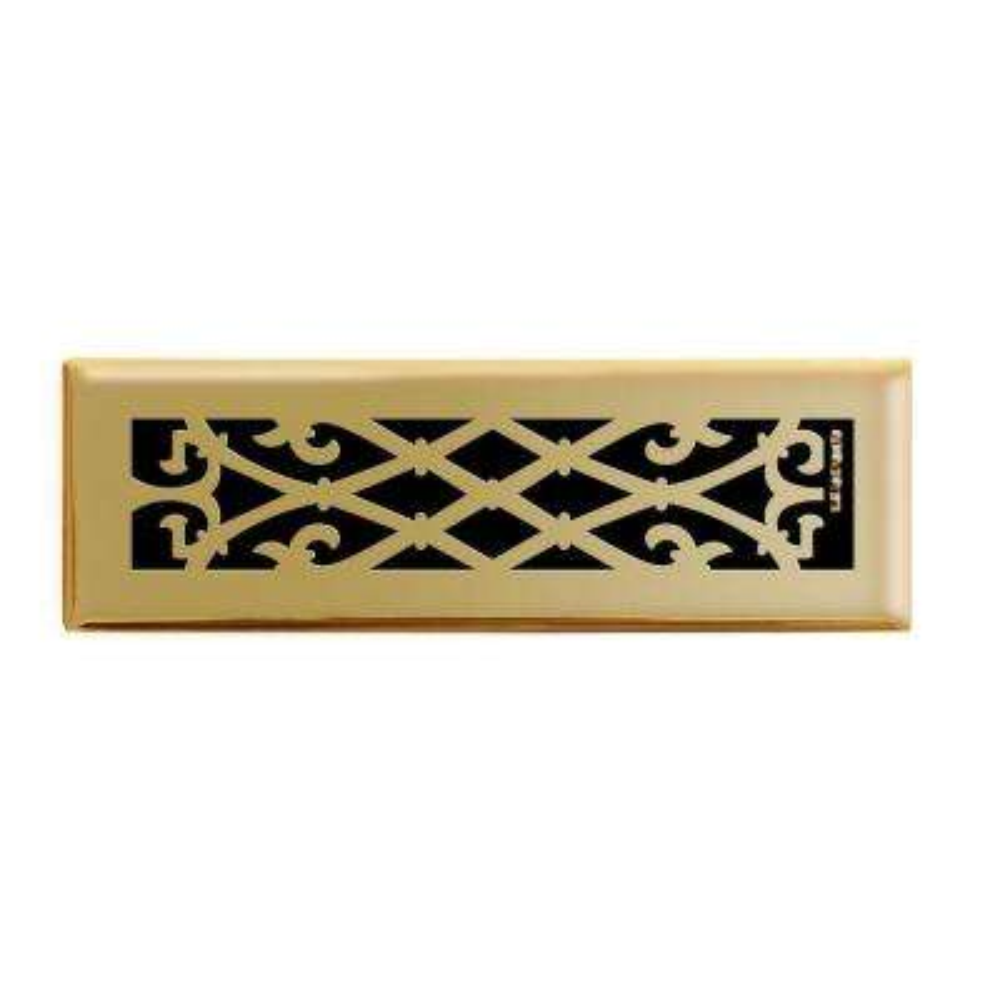 2 in. x 10 in. Elegant Scroll Floor Register in Polished Brass