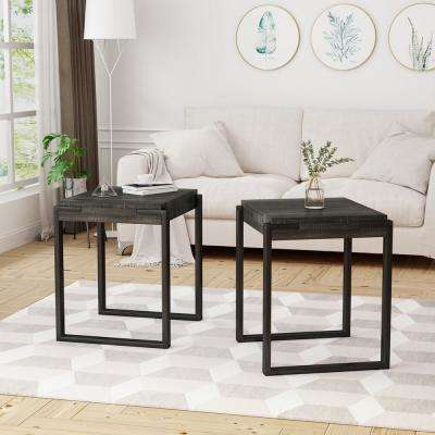 Balestier Modern Oak Black Faux Wood End Tables with Matte Black Metal Legs (Set of 2)