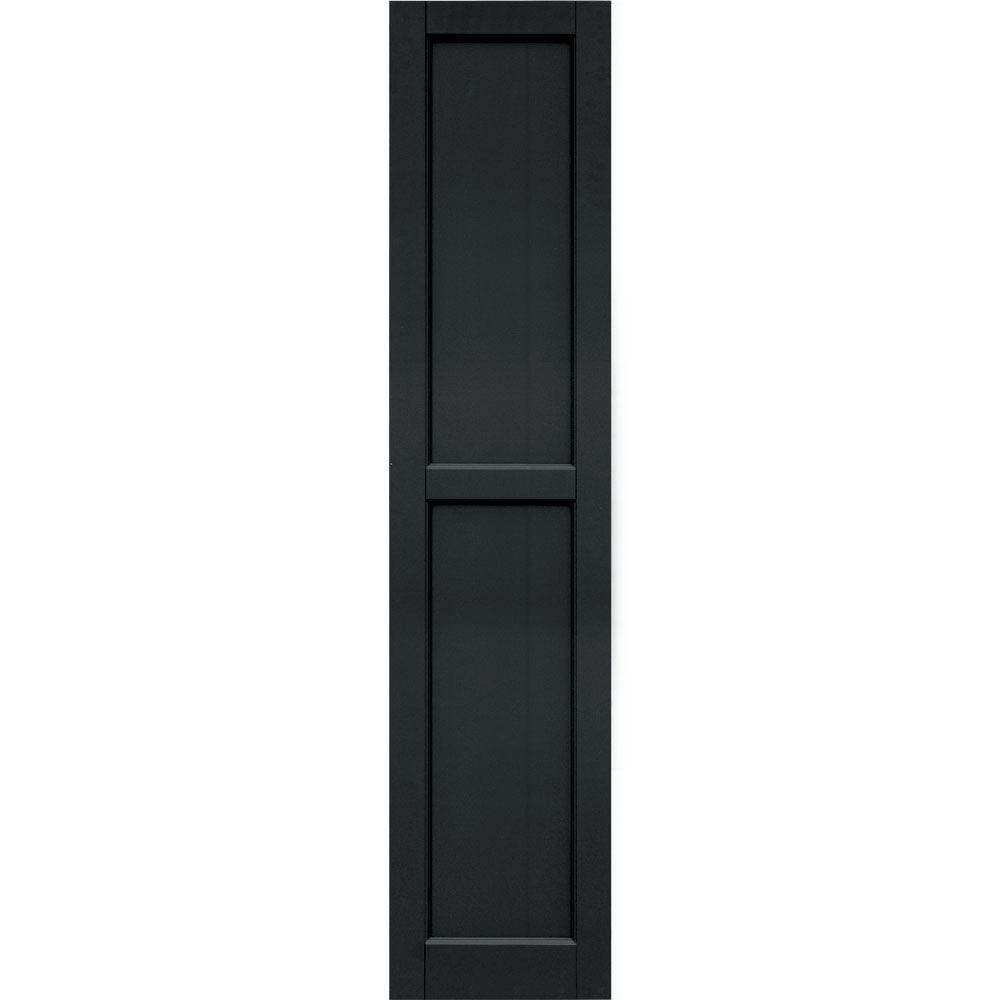 Winworks Wood Composite 15 in. x 68 in. Contemporary Flat Panel Shutters Pair #632 Black