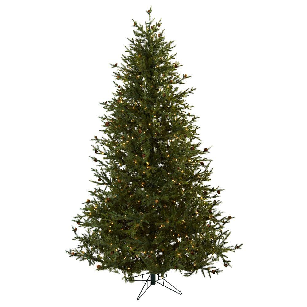 a516851df52 Nearly Natural 7.5 ft. Classic Pine and Pine Cone Artificial ...