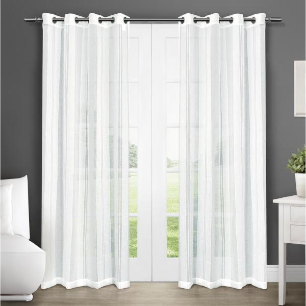 Apollo 50 in. W x 96 in. L Sheer Grommet Top Curtain Panel in Winter White (2 Panels)