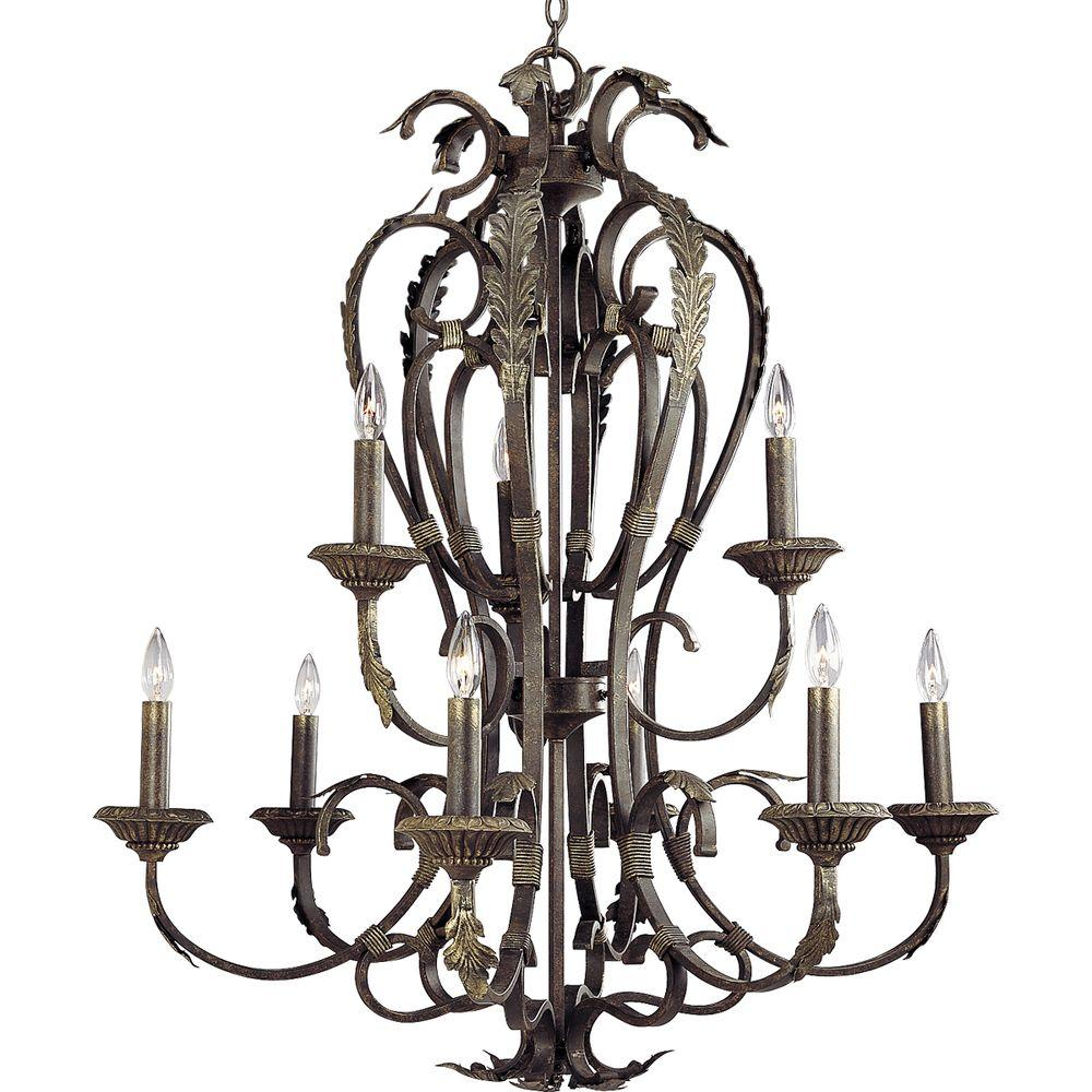 Progress Lighting Palmero Collection Weathered Bronze 9-light Chandelier-DISCONTINUED