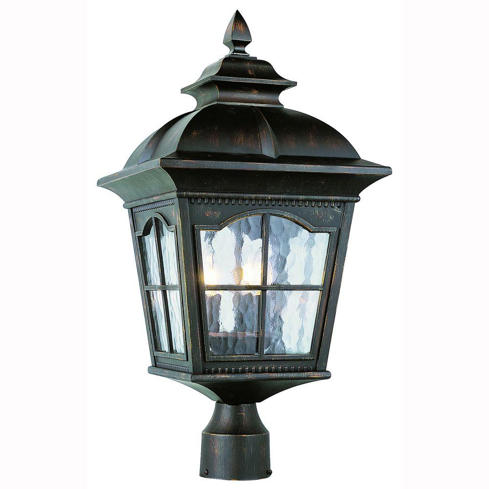 Bostonian 3-Light Outdoor Antique Rust Post Top Lantern with Water Glass