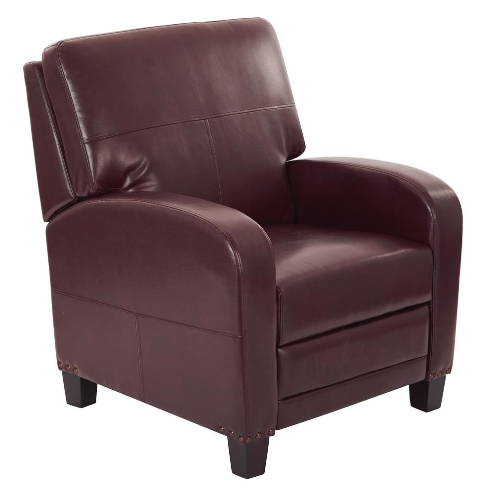 OSP Home Furnishings Wellington Cocoa (Brown) Recliner Upgrade any room with the WELLINGTON Recliner. Featuring a modern style, this recliner is ideal for seamlessly complementing your home interior. This faux leather recliner has leather upholstery, which is great if you want a classic or sleek feel. It has an easy-to-assemble design, which makes it extremely simple to set up. Color: COCOA.