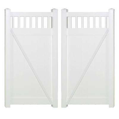 h white vinyl privacy double fence gate