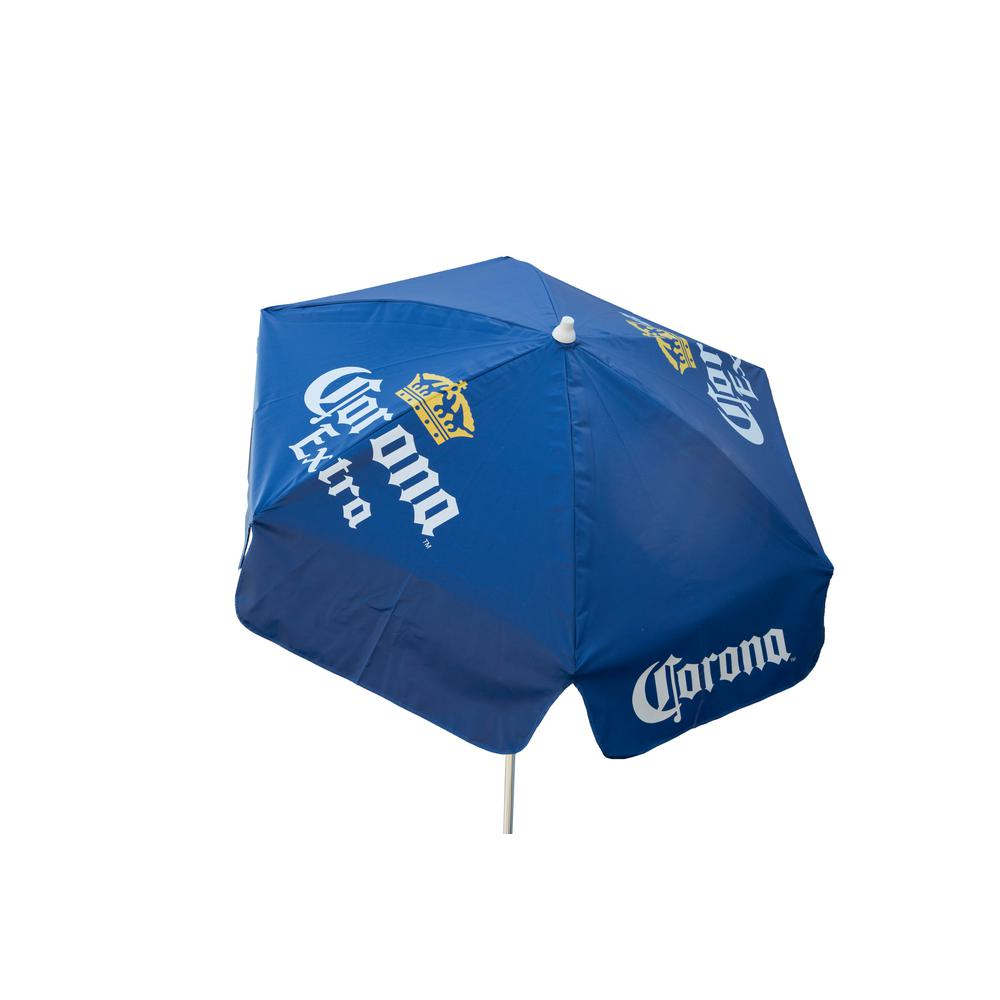 Corona Extra 6 ft. Aluminum Tilt Patio Umbrella in Blue Vinyl