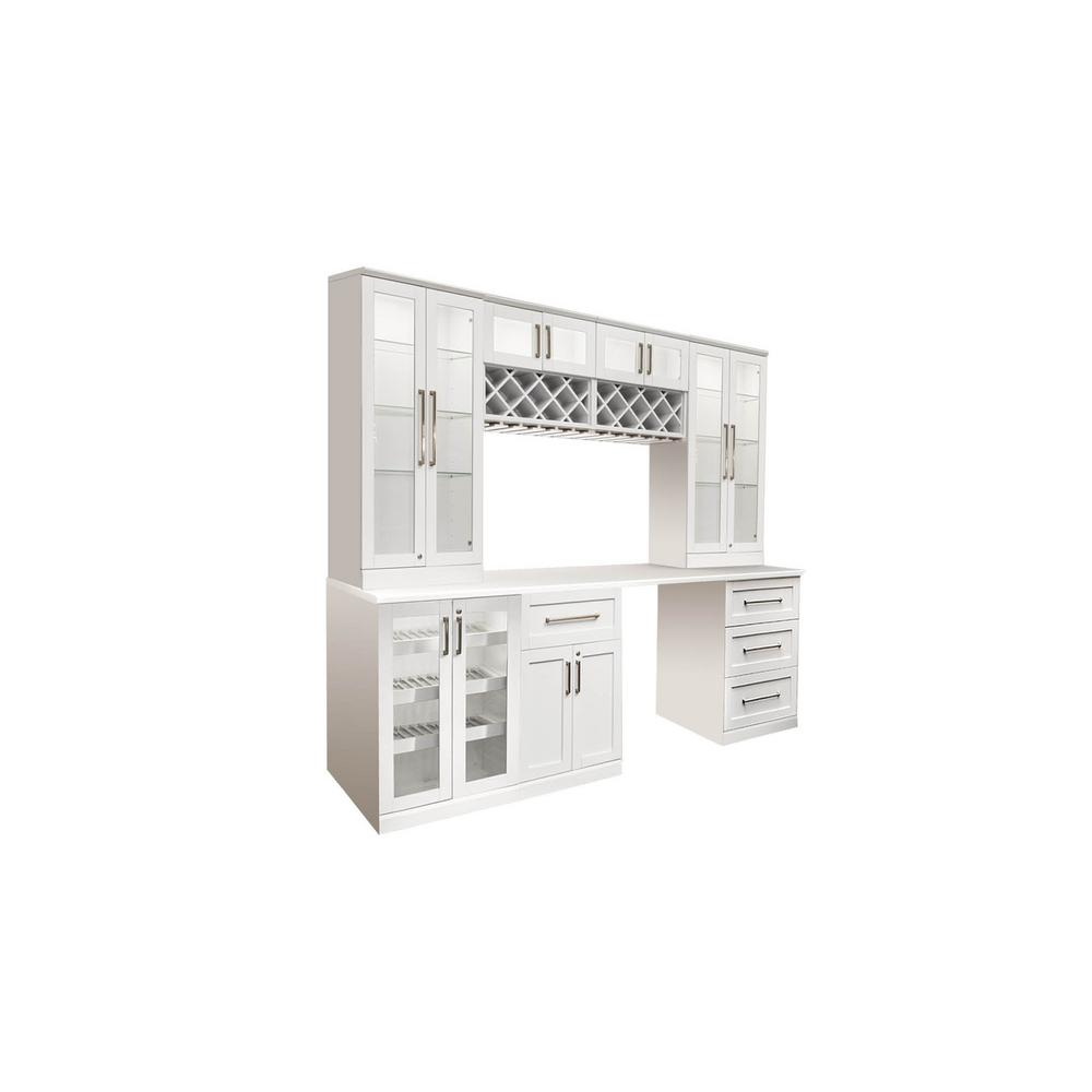 NewAge Products Home Bar White 8-Piece Shaker Style Bar Cabinet ...