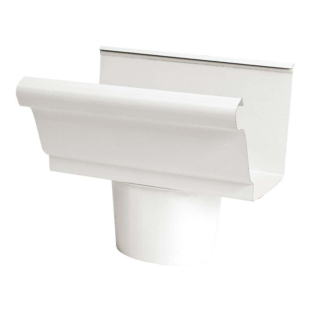 4 in. White Steel K-Style Gutter End Piece with 2 in.
