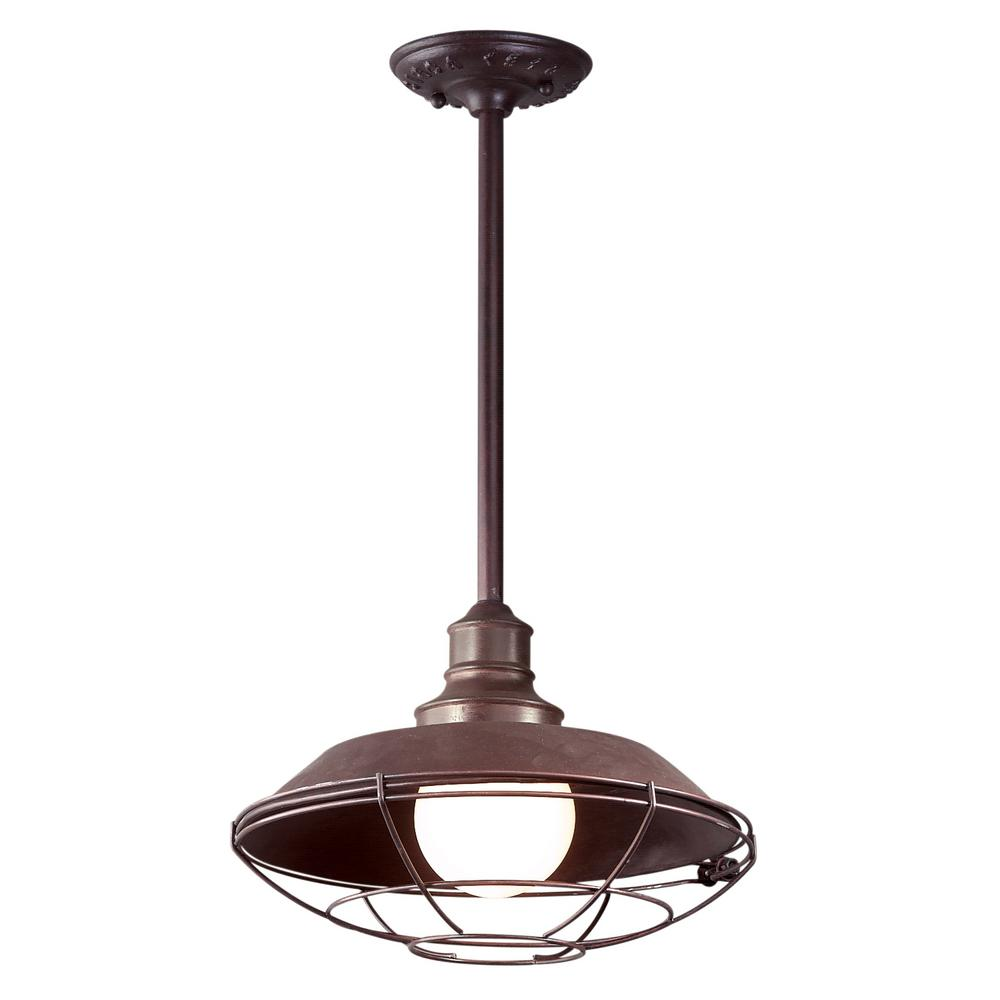 Circa 1910 1-Light Old Rust Outdoor Pendant