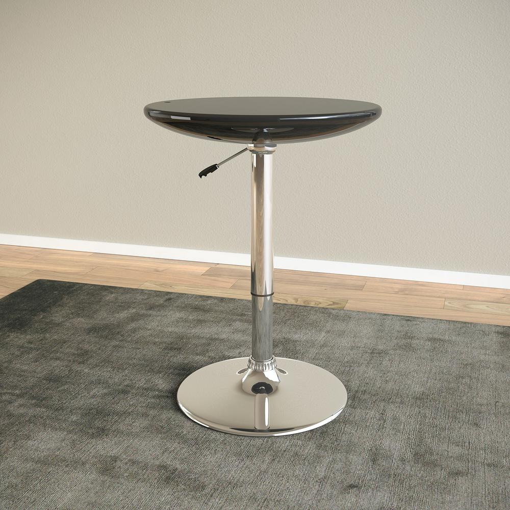 Adjustable Height Glossy Black Round Bar Table