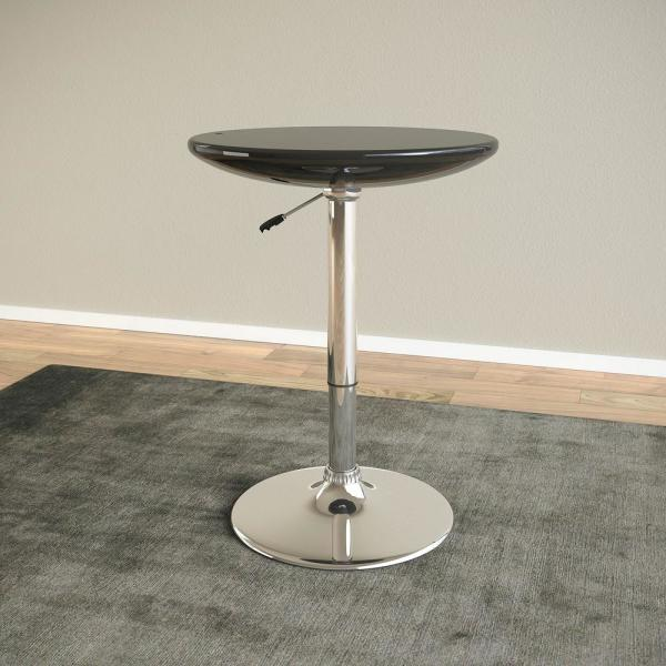 CorLiving Adjustable Height Glossy Black Round Bar Table