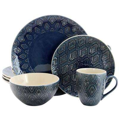 Kali 16-Piece Blue Textured Dinnerware Set