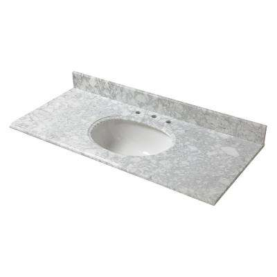 49 in. W Marble Vanity Top in Carrara with White Basin