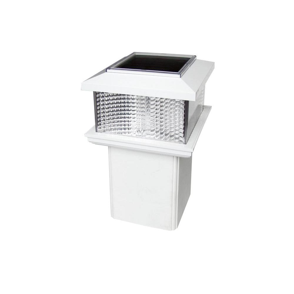 4 in. x 4 in. White Plastic Square Solar Powered Adaptable