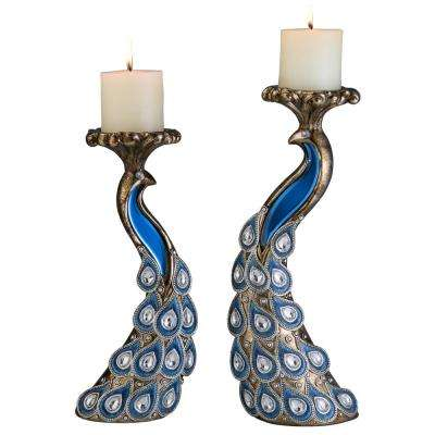 Gray And Blue Glorieux Polyresin Candleholders (Set of 2)