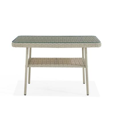 Windham Light Gray Rectangular Wicker Outdoor Accent Table