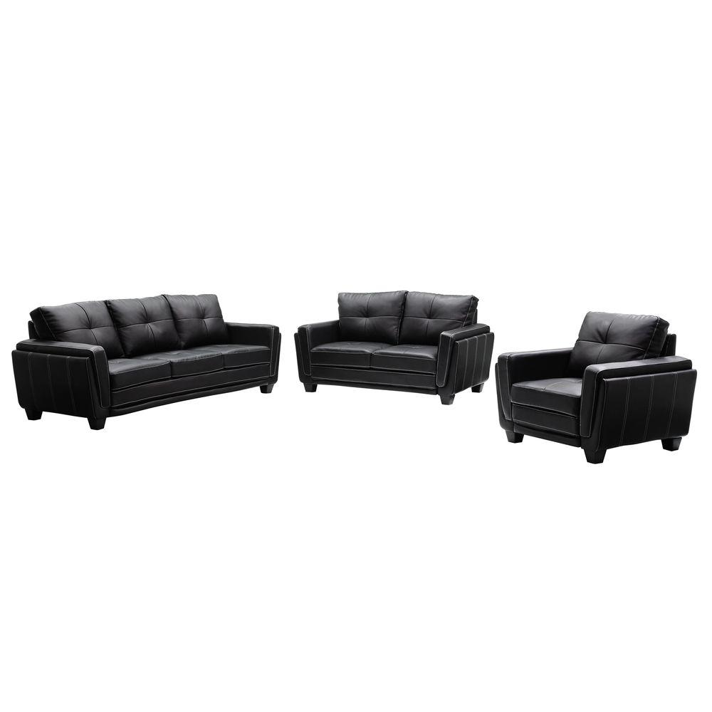 HomeSullivan Black Faux Leather Sofa, Loveseat and Chair Set-DISCONTINUED