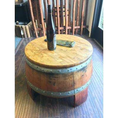 24 in. W x 17 in. H Lacquer Reclaimed Wine Barrel Coffee Table