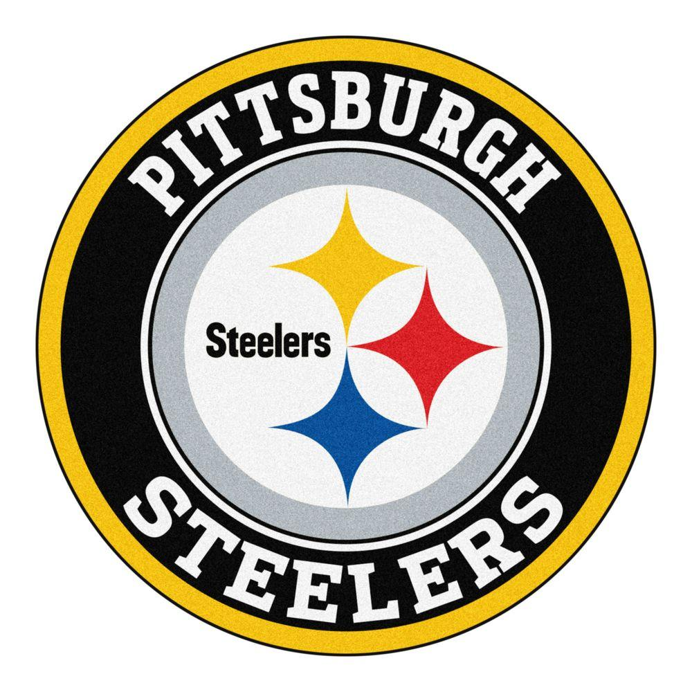 FANMATS NFL Pittsburgh Steelers Black 2 Ft. Round Area Rug