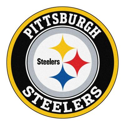 NFL Pittsburgh Steelers Black 2 ft. Round Area Rug
