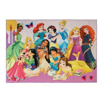 4 ft. 6 in. x  6 ft. 6 in. Princess Party Indoor Juvenile  Area Rug