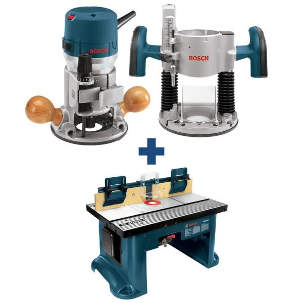 12 Amp 2-1/4 HP Variable Speed Plunge and Fixed Base Corded Router Kit with Bonus 15 Amp Corded Benchtop Router Table