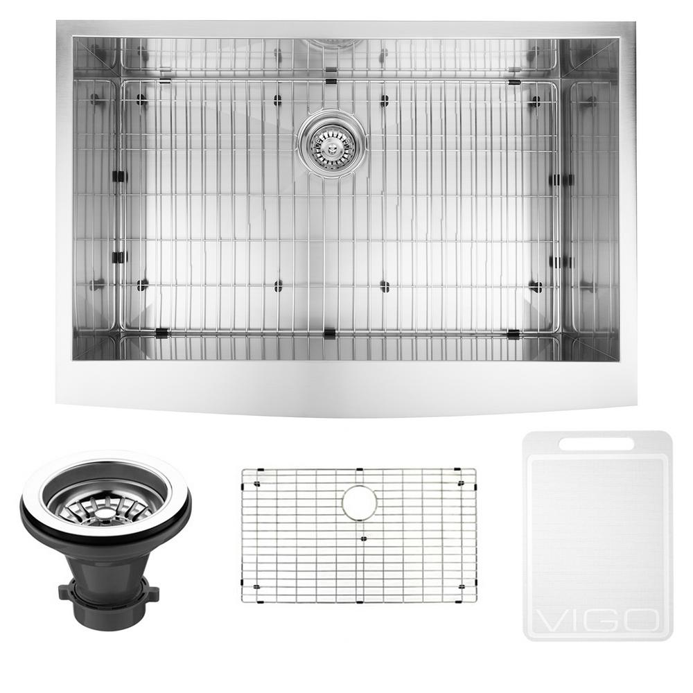 vigo undermount farmhouse apron front 33 in single bowl kitchen sink with grid and strainer in stainless the home depot